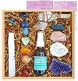 Premium Healing Crystals Full Gift Set/Includes 7 Chakra tumbles, Crystal Pendulum, Amethyst Cluster, Raw Rose Quartz, and Crystal Point/Bohemian Meditation Kit