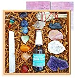 Premium Healing Crystals Full Gift Set/Includes 7 Chakra tumbles, Crystal Pendulum, Amethyst Cluster, Raw Rose Quartz, and Crystal Point/Bohemian Meditation Kit