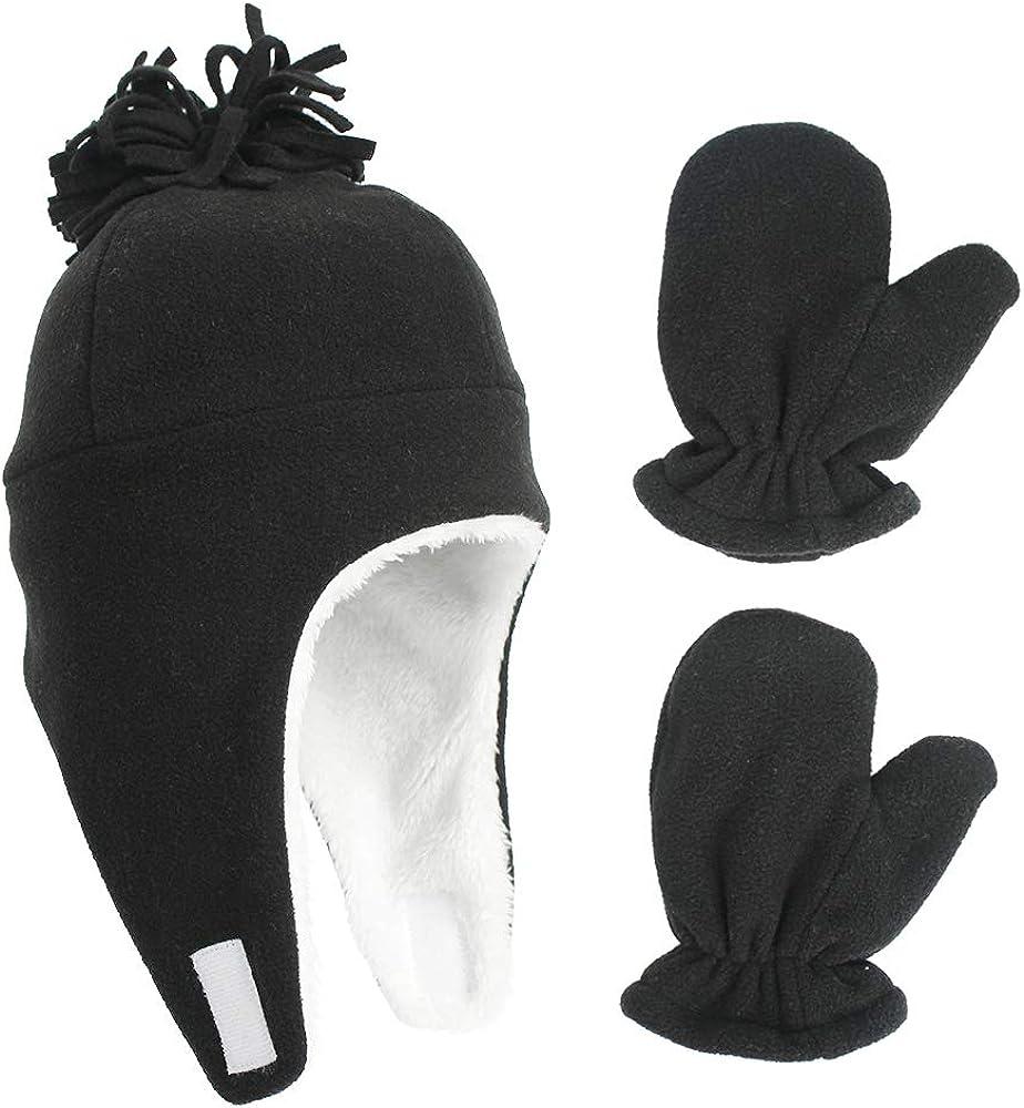 Kids Hat Mitten Set Baby Boys Girls Sherpa Lined Warm Fleece Pilot Hats Toddler Winter Cute Beanie Skull Cap Gloves Set