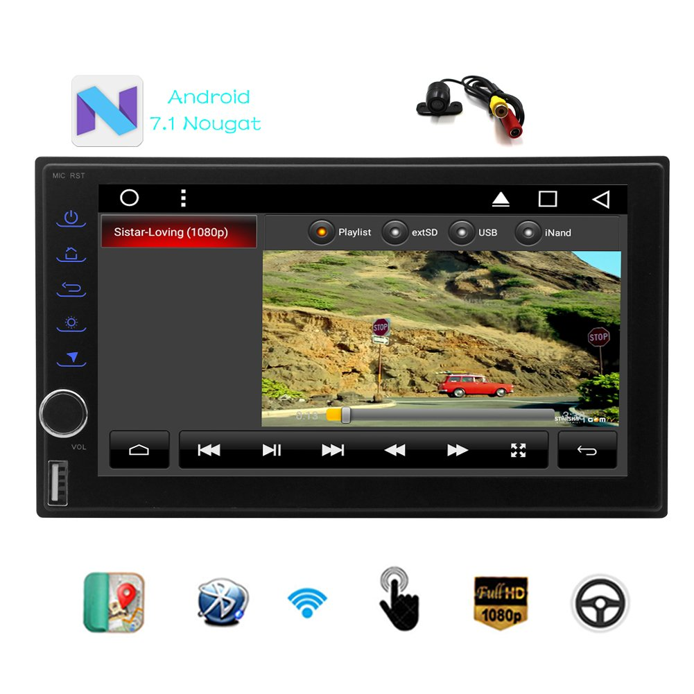 Eincarオクタコアのカーステレオ7インチの容量性タッチスクリーン、ヘッドユニットの表示のAndroid 7.1の車NO DVDプレーヤーGPSナビゲーションAutoradio Bluetoothカーステレオのサポート無線LAN USB / SDミラーリンク+バックアップカメラ B075XL93D7