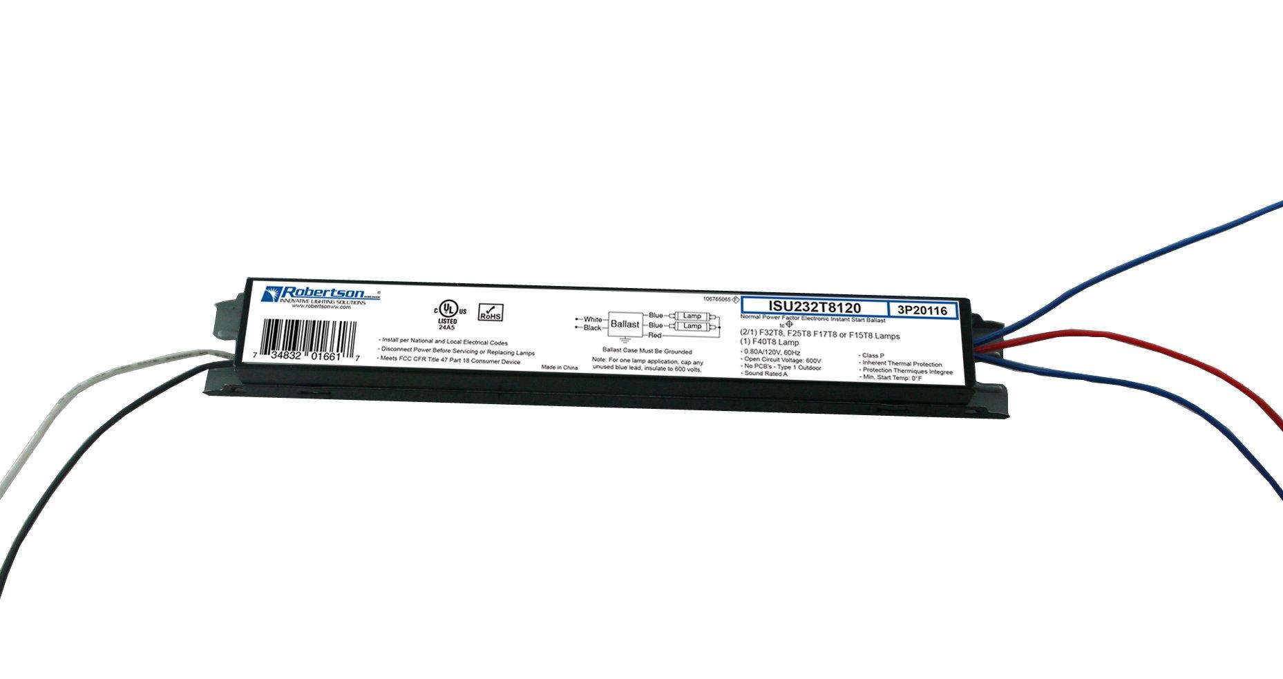 ROBERTSON 3P20116 eBallast, Instant Start, NPF, 1 or 2 Lamp F32T8, 120Vac, 60 Hz, Model ISU232T8120 BA (Replaces Robertson 3P20003, Model ISU232T8120/B)