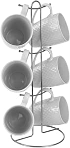 Home Basics 7 Piece Diamond Basket Weave Mug Set - 6 11 oz Mugs and Mug Stand - Add A Fun and Stylish Decorative Display For Your Kitchen (White)