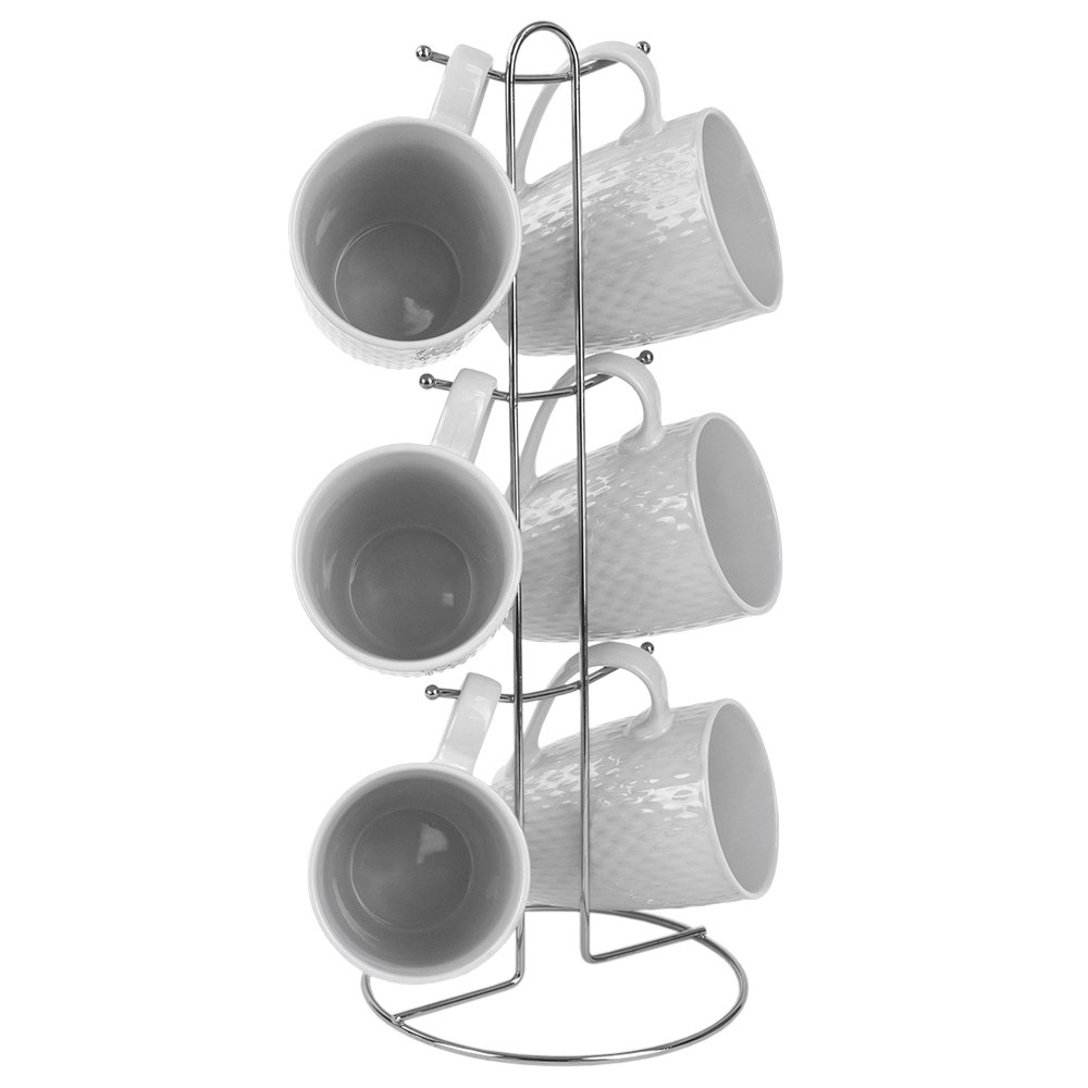 Home Basics 7 Piece Diamond Basket Weave Mug Set - 6 11 oz Mugs and Mug Stand - Add A Fun and Stylish Decorative Display For Your Kitchen, mug tree wire rack stand included (White)
