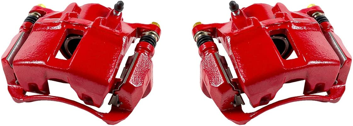 CCK01550 2 FRONT Performance Grade Red Powder Coated Semi-Loaded Caliper Assembly Pair Set
