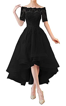 NOVIA Women s Off The Shoulder High Low Evening Prom Dresses Half Sleeves  Vintage Bridesmaid Gown Black f023d5146