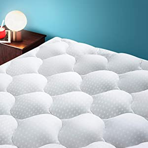 BedLuxury Mattress Toppers for Queen beds ,Queen Size Cooling Mattress Pad Cover ,Protector Pillow Top with Snow Down Alternative Fill (8-21 Inch Fitted Deep Pocket)