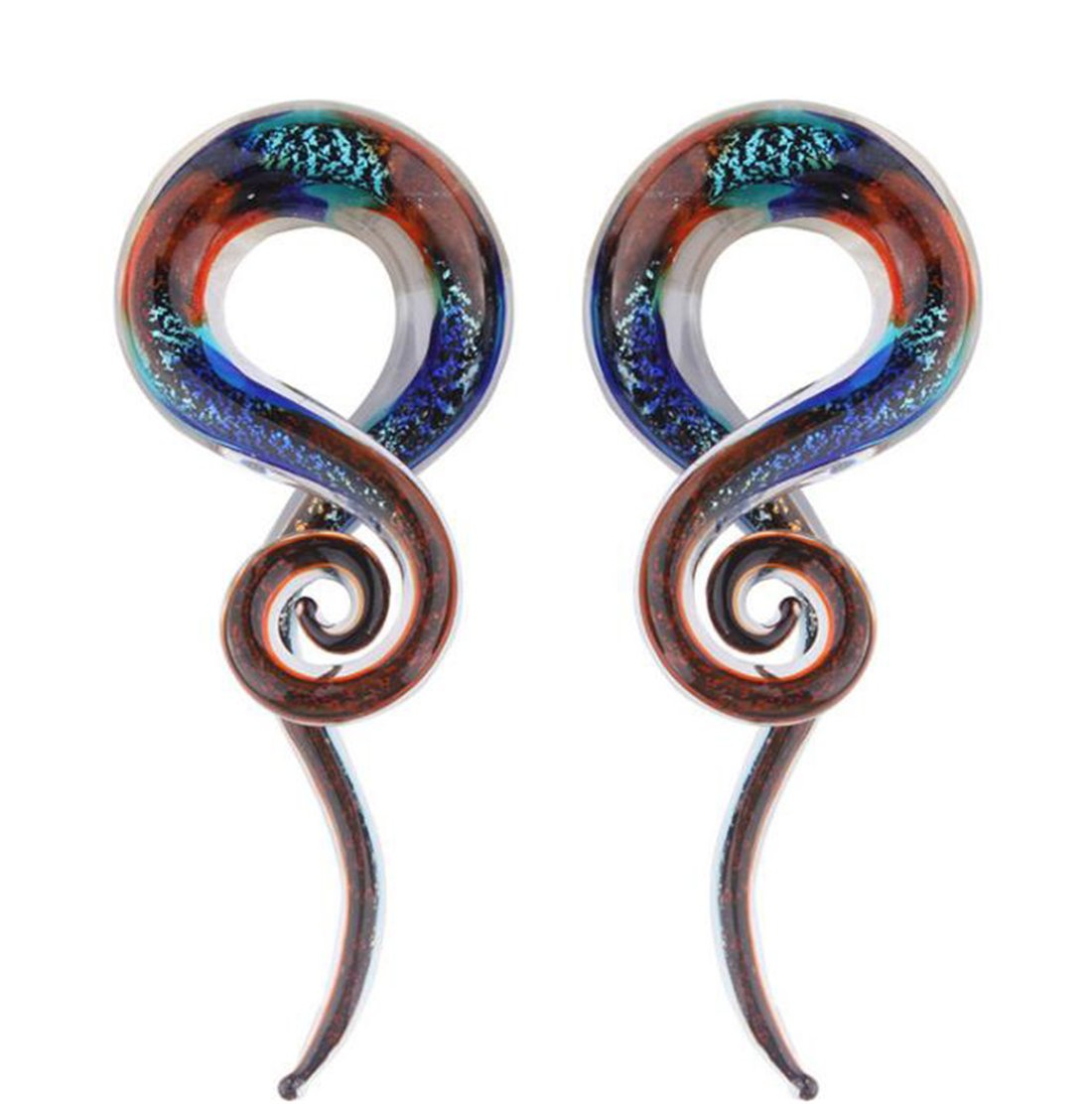 Piercing Ear Stretching Glass Spiral Tapers Ear Plugs Teal Glass Plugs (Gauge=00g(10mm))