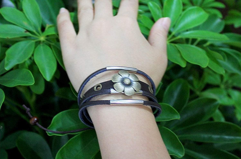 GTHYUUI Triplex Row Leather Wood Beaded Wax Ends The Key to Love Metal Plate Fashion Bracelet