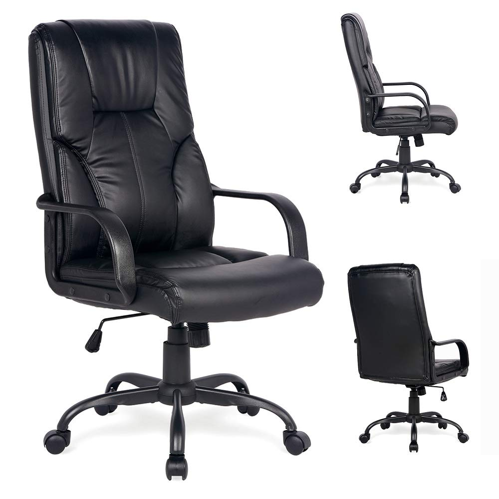 Adjustable High Back Executive PU Leather Office Chair Computer Desk Chair Ergonomic Style Swivel Chair with Thick Back and Seat Cushion Black by Amooly