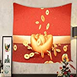 Carolyn J. Morin Custom tapestry d rendering picture of chinese new year greeting card lots of ancient gold coins falling from