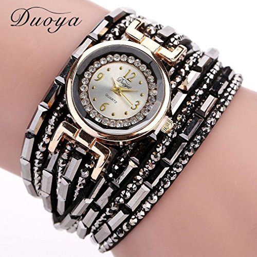Siniao® Women Luxury Crystal Women Gold Bracelet Quartz Wristwatch Rhinestone Clock (Gemstone Bracelet Watch)