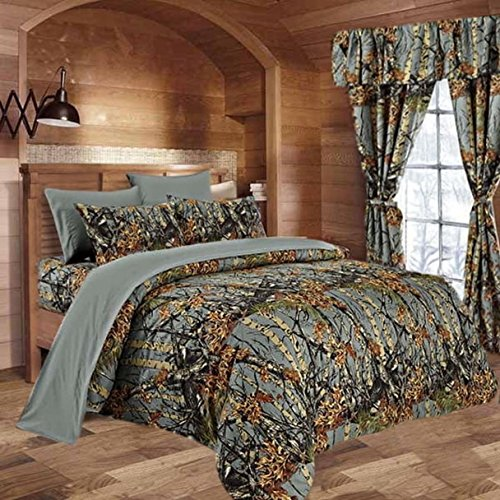 20 Lakes Hunter Camo Comforter, Sheet, Pillowcase Set (Queen, Gray) -