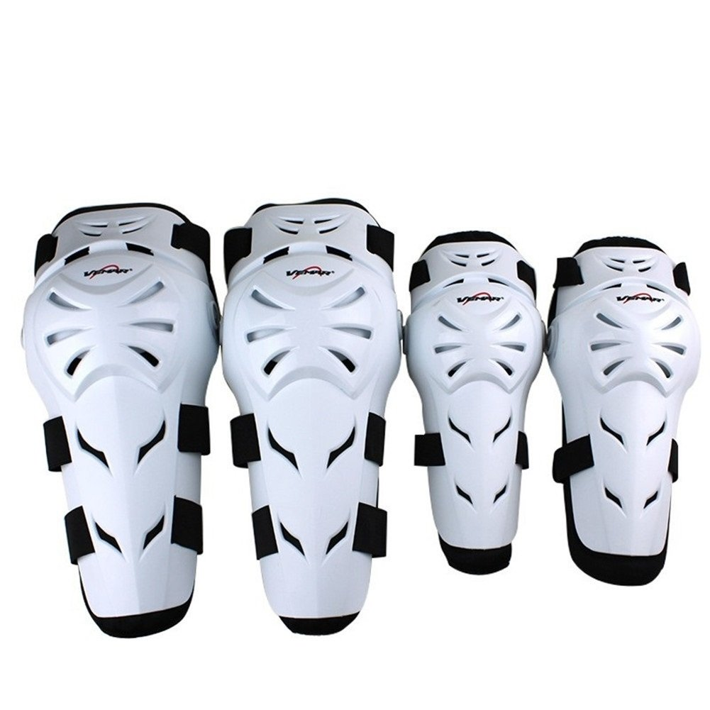 Runworld 4 pcs Motorcycle Motocross Cycling Elbow and Knee Pads Protection Shin Guards Body Armor Set Protective Gear For Adults (White)