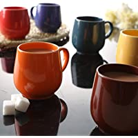 JRP MART Multi Color Oval Ceramic Tea Cups/Coffee Mugs - Set of 6