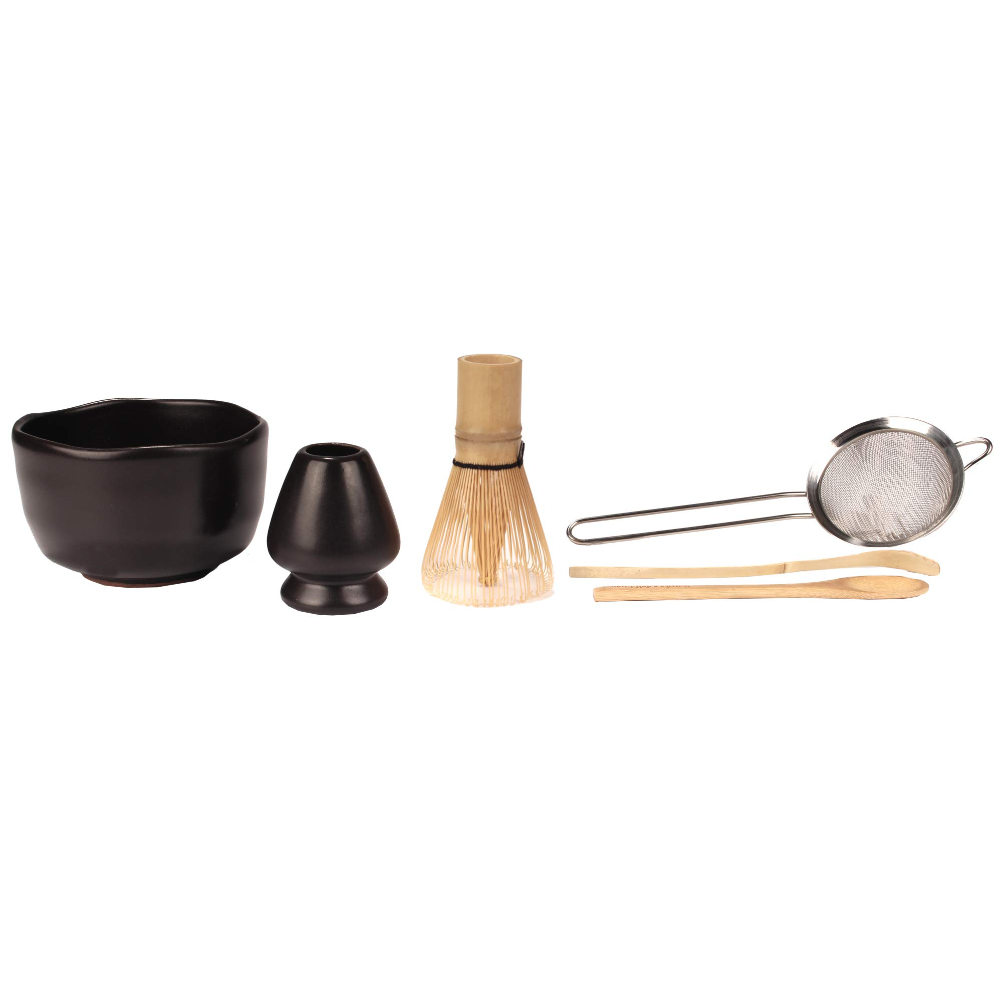 Japanese Ceremonial Matcha Green Tea Whisk Set - Golden Chasen Whisk, Chashaku, Tea Spoon, Black Bowl, Black Rest, Strainer by BambooMN
