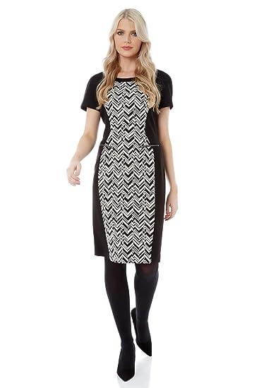Roman Originals Women Ponte Contrast Chevron Print Dress Ladies