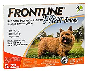 Merial Frontline Plus Flea and Tick Control for 5-22 Pound Dogs and Puppies, 3-dose