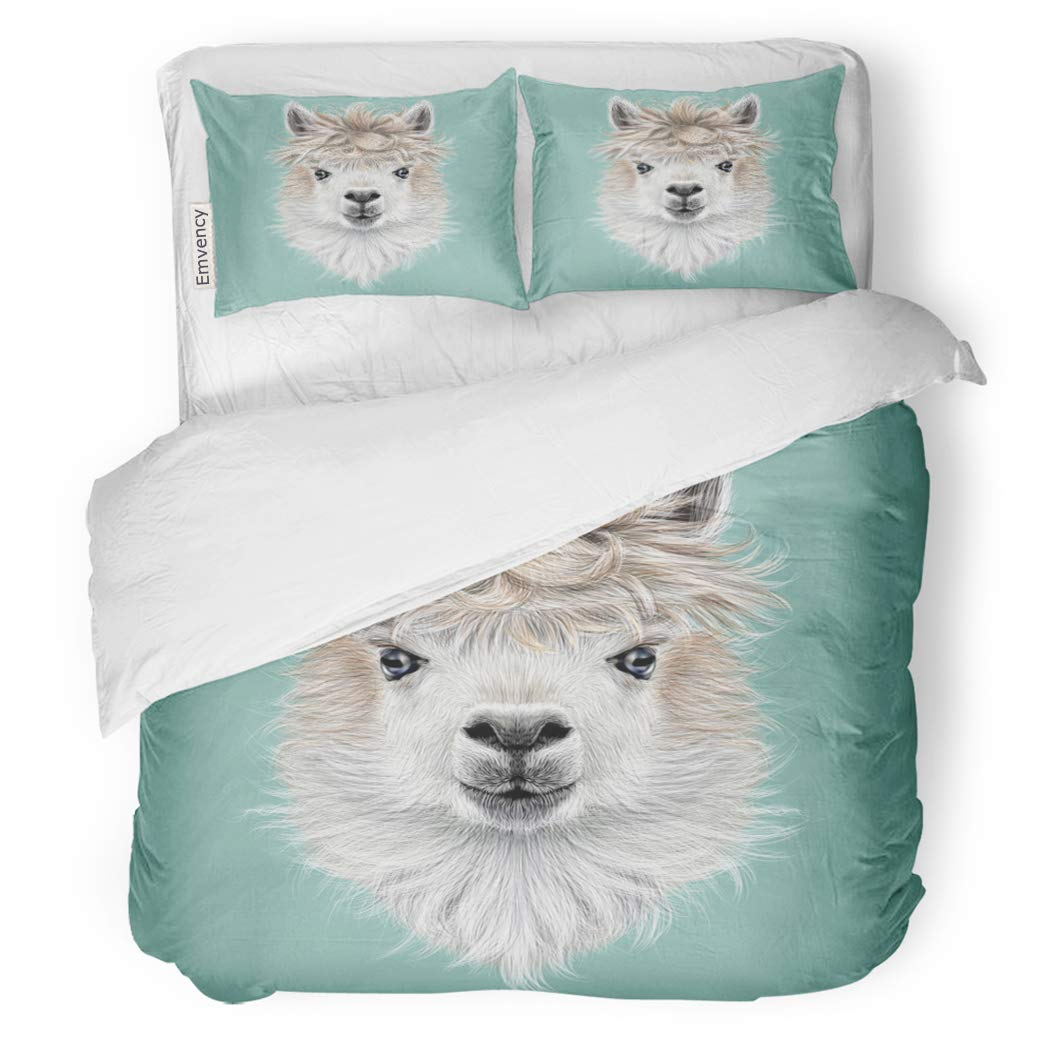 SanChic Duvet Cover Set America Llama Animal Portrait of Alpaca on Blue Decorative Bedding Set with Pillow Sham Twin Size