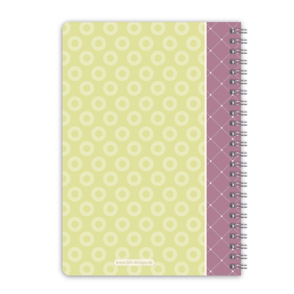 2 x LifeDesign Notizbuch A5 Notizheft Spiralbuch Sumatra 120 Seiten creme liniert Softcover FSC