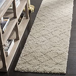 Safavieh Arizona Shag Collection ASG743A Southwestern Diamond Geometric Ivory and Beige Runner (2