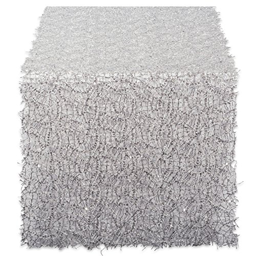 DII Decorative Metallic Sequin Table Runner for Wedding,  Holidays, Occasions, and Everyday Décor, 16x120, Silver