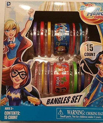 DC Super Hero Girls Bangles Set 15 Count Supergirl Wonder Woman Gift (Cheetah Superhero Costume)