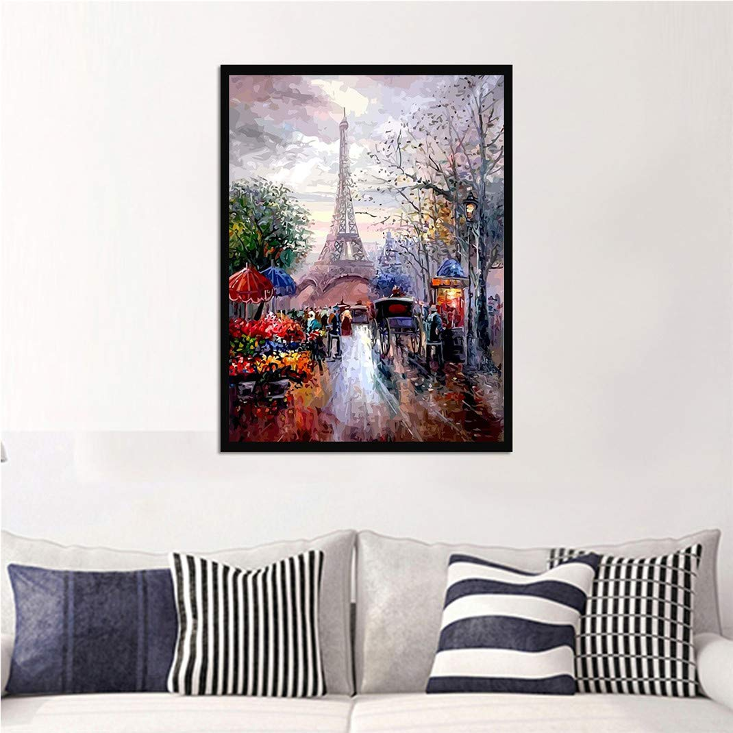 Paris Torre Eiffel Calle Pr/óspera Cuadro en Lienzo Arte de la Pared Moderna Pintura de Decoraci/ón del Hogar Modular Poster Impresi/ón en Material Tejido no Tejido,60X90cm