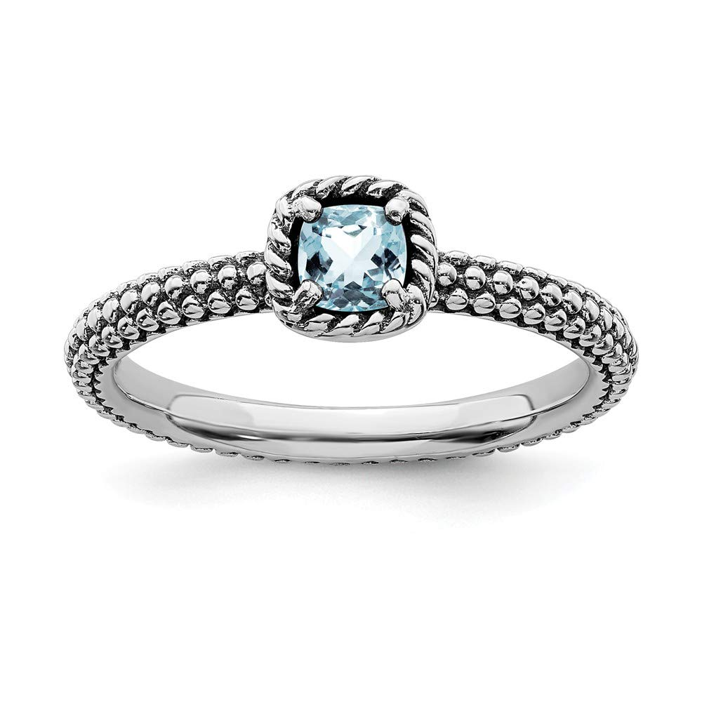 925 Sterling Silver Checker Cut Blue Aquamarine Band Ring Size 5.00 Stackable Gemstone Birthstone March Fine Jewelry Gifts For Women For Her