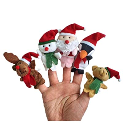 Susenstone®5pc Story Time Christmas Santa Claus and Friends Finger Puppets Toy