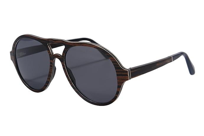 7 layers genuine wood frame sunglasses pilot style polarized wood sunglasses sh73004ebony - Wood Framed Sunglasses