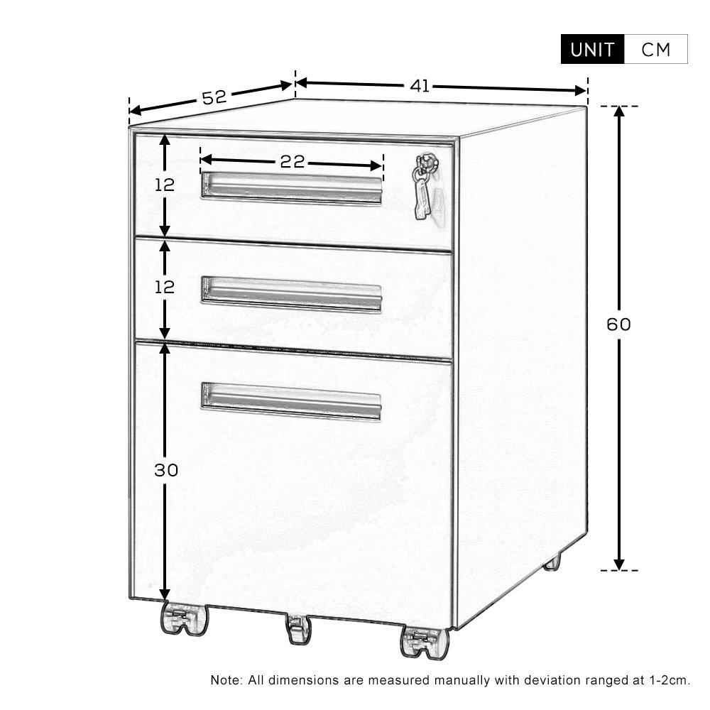 casellario metallo in acciaio a 3/cassetti Life Carver/® con maniglia e serratura incorporati black
