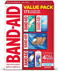 Band-Aid Brand Active Lifestyle Variety Pack Adhesive Bandages for Wound Care & First Aid, Assorted Sizes, (173 CT.)