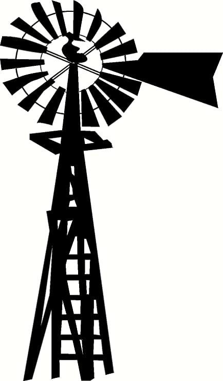 amazon com windmill silhouette vinyl wall art decal sticker