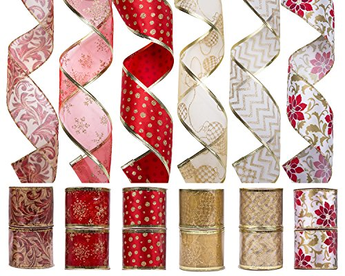 iPEGTOP Wired Christmas Ribbon, Assorted Shimmer Organza Fabric Ribbons Glitter Gift Wrapping Ribbons DIY Craft Party Decorations, 36 Yards (12 Roll x 3 yd) by 2.5 inch, Red / Gold (Christmas Ribbon For Tree)