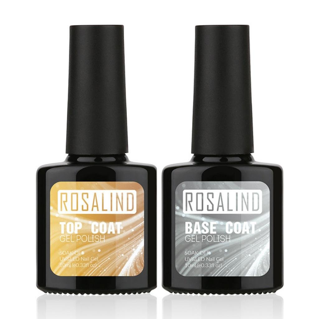 Exteren 2 Pcs Top Coat + Base Coat Uv Diamond Nail Gel Polish Primer Nail Art Kit Nail Oil Nail Art Supplies (Multicolor)