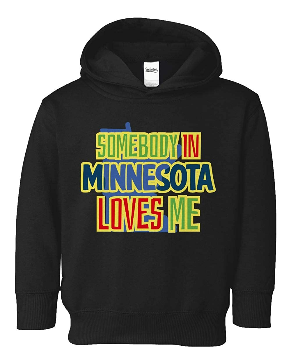 Societee Somebody in Minnesota Loves Me Girls Boys Toddler Hooded Sweatshirt