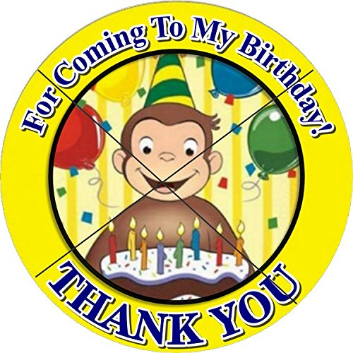 12 CURIOUS GEORGE Birthday Party Favor Stickers/Labels for Gift, Goody Treat Bag (2.5 inches circle stickers, bags not included)]()