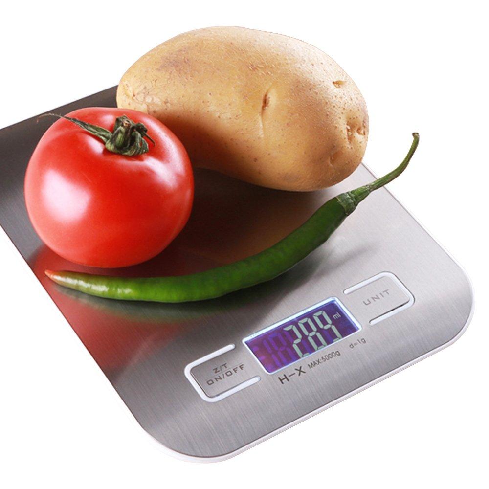 Báscula Digital de cocina precision 5KG / 1g Balanza de Alimentos Peso de Cocina con gran pantalla LCD y plataforma plateada cepillada Plata (Baterías Incluidas) Epoch World