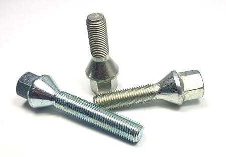 50 mm 10 Radschrauben M14 x 1,25 Radbolzen silber Alufelgen Kegelbund