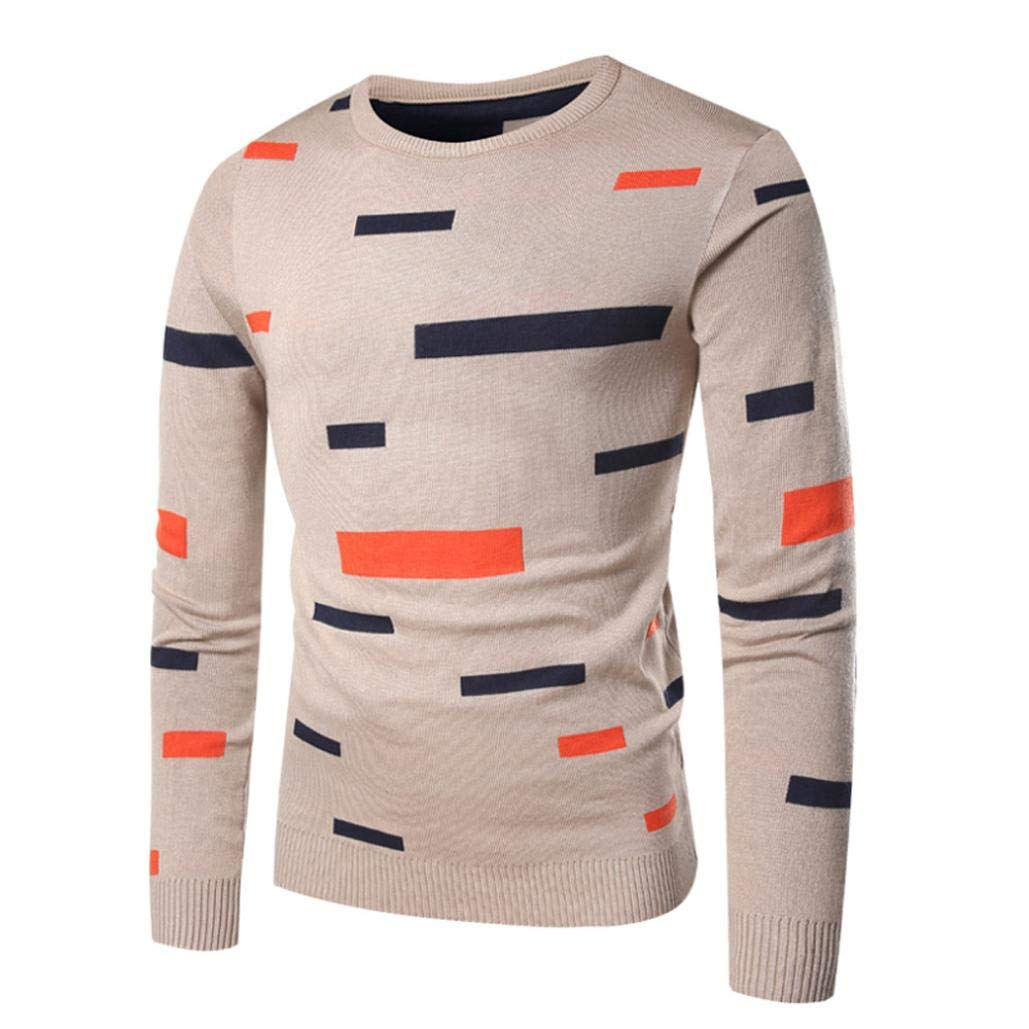 kaifongfu Sweater Tops,Men Printed Pullover Knitted Top Autumn Winter Outwear Blouse Beige L