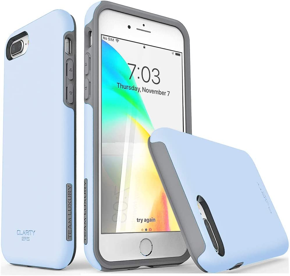 """TEAM LUXURY iPhone 7 Plus case/iPhone 8 Plus case, [Clarity Series] G-II Ultra Defender TPU + PC Shock Absorbent Protective Case - for Apple iPhone 7 Plus & 8 Plus 5.5"""" (Light Blue/Gray)"""