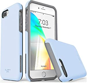 "TEAM LUXURY iPhone 7 Plus case/iPhone 8 Plus case, [Clarity Series] G-II Ultra Defender TPU + PC Shock Absorbent Protective Case - for Apple iPhone 7 Plus & 8 Plus 5.5"" (Light Blue/Gray)"
