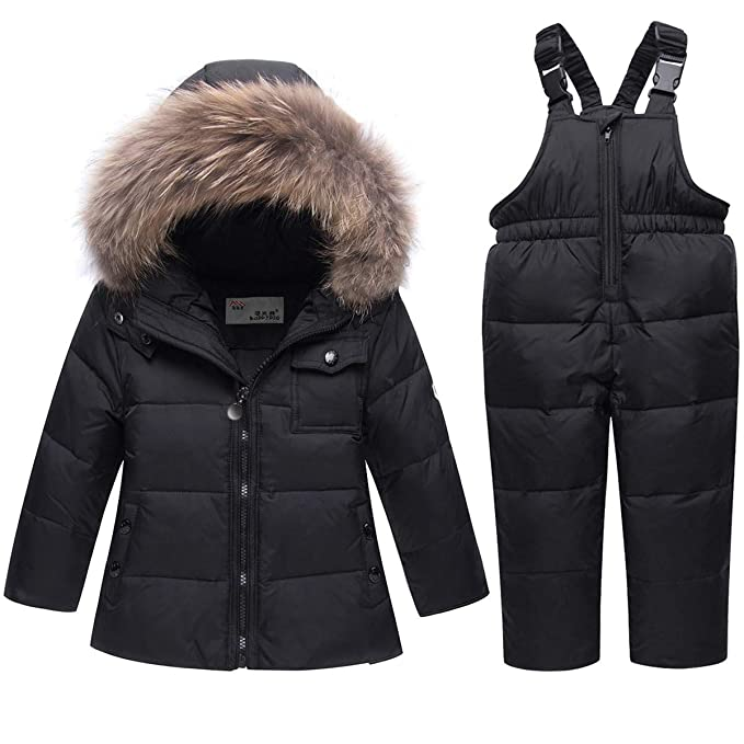 FAIRYRAIN Little Kids Baby Girls Two Piece Winter Warm Colorful Fur Trim Hooded Snowsuit Puffer Down Jacket Snow Ski Bib Pants Outfits Outwear