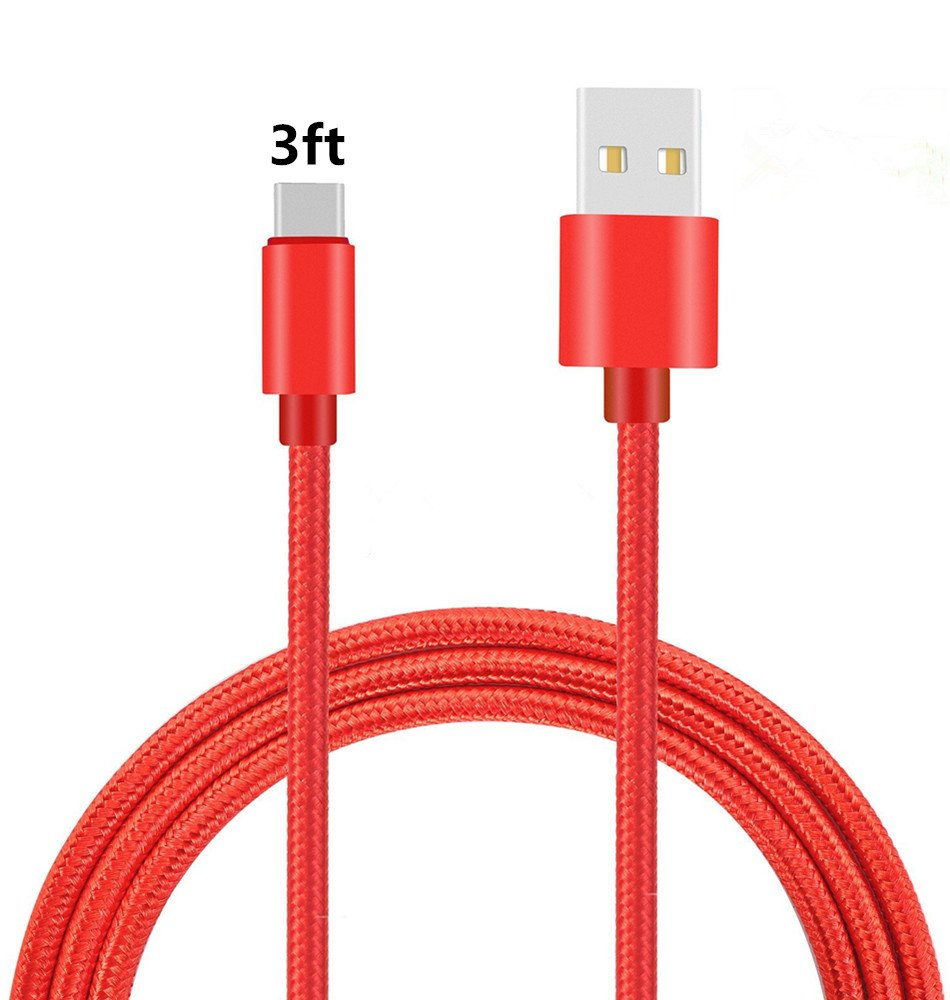 USB Type C Cable,THRRLY Nylon Braided USB C Long Cord Fast Charger Cable Compatible with Alcatel 7,LG V40 G7 Stylo 4 V30 G6,Google Pixel 3 XL,Pixel 2 XL,Moto Z3 Play and More.(Red 3ft)