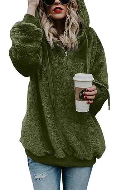 8fea5321d Imbry Womens Fuzzy Hoodie Jumper Fleece Jacket Pullover Sweatshirt ...