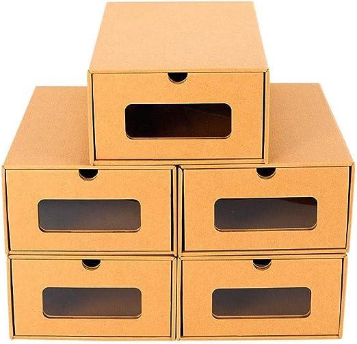 fuluomei FLM Cajas de Almacenaje Plegable - Pack de 5 Cajas de Zapatos Transparente Apilable para Hombre y Mujer,30 x 21 x 12 cm: Amazon.es: Hogar