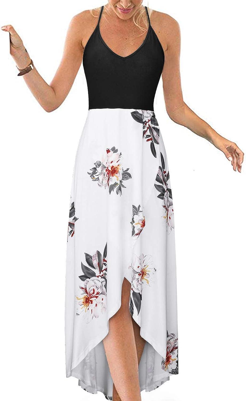 KILIG Women's V Neck Sleeveless Casual Summer Sundresses Asymmetrical Patchwork Floral Maxi Dresses