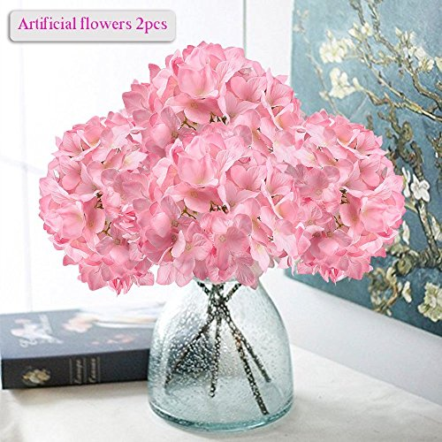 Artificial Hydrangea Flowers, Meiwo 2 Pcs Nearly Natural Fake Hydrangea Silk Flowers to Shine Your Wedding Scene Arrangement and Home Party Decor(Pink)