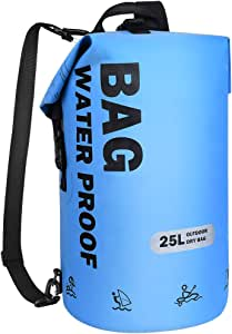 VBG VBIGER Dry Bags Waterproof Backpack 25L PVC Beach Bucket Bag Floating Dry Backpack for Swimming Kayaking Boating Hiking Camping Fishing Biking Skiing with Phone Pouch