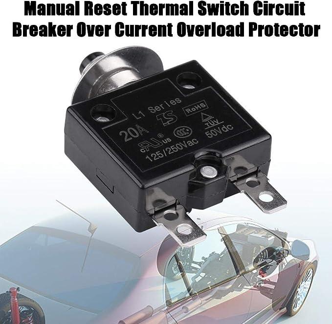 sourcing map Thermique Disjoncteurs 125//250V AC Pousser Bouton Manuel R/éinitialiser Surcharge Protecteur Interrupteur 20A 3Pcs